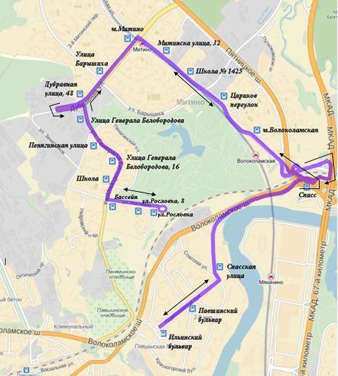 Схема маршрута №372